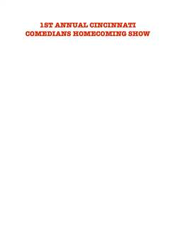 Cincinnati Comedians Homecoming Show
